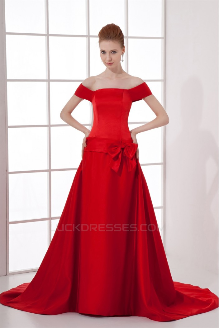 Off-the-Shoulder Sleeveless A-Line Court Train Prom/Formal Evening Dresses 02020782