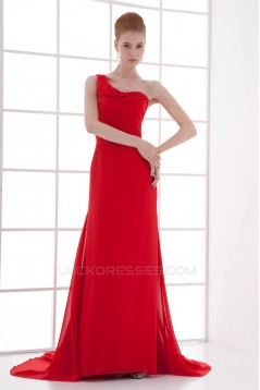 One-Shoulder Court Train Pleats Sheath/Column Prom/Formal Evening Dresses 02020785