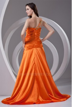 One-Shoulder Elastic Woven Satin Pleats Prom/Formal Evening Dresses 02020786