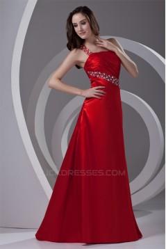 A-Line One-Shoulder Floor-Length Sleeveless Beading Prom/Formal Evening Dresses 02020788