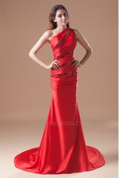 Mermaid/Trumpet One-Shoulder Pleats Sequins Prom/Formal Evening Dresses 02020791