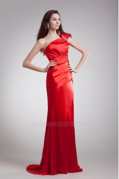One-Shoulder Sleeveless Brush Sweep Train Prom/Formal Evening Dresses 02020794