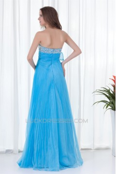 A-Line Beading Strapless Long Blue Prom/Formal Evening Dresses 02020800