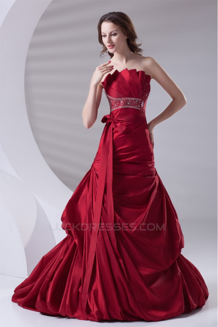 A-Line Pleated Sleeveless Satin Beading Prom/Formal Evening Dresses 02020803