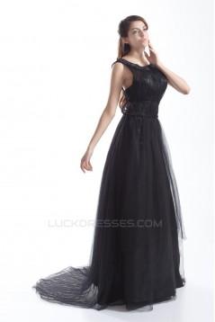 Pleats Bateau Satin Fine Netting Sleeveless Prom/Formal Evening Dresses 02020804