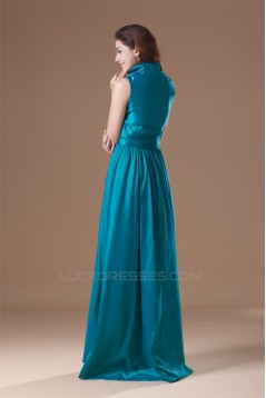 Pleats Floor-Length Taffeta Sleeveless High-Neck Prom/Formal Evening Dresses 02020805