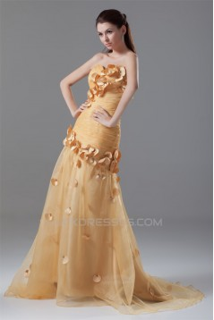 Pleats Sleeveless Strapless Taffeta Netting Prom/Formal Evening Dresses 02020809