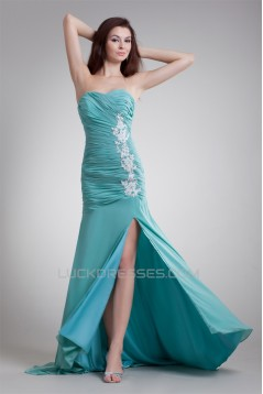 Puddle Train Chiffon Elastic Woven Satin Prom/Formal Evening Dresses 02020811
