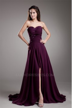 A-Line Ruffles Chiffon Sweetheart Long Purple Prom/Formal Evening Dresses 02020816
