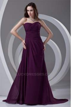 Ruffles Sweetheart A-Line Sleeveless Chiffon Long Purple Prom/Formal Evening Dresses 02020817