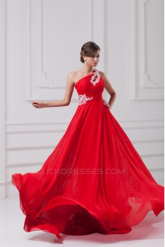 A-Line One-Shoulder Long Red Chiffon Prom/Formal Evening Dresses 02020819