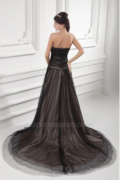 A-Line Fine Netting Sweetheart Sleeveless Long Black Prom/Formal Evening Dresses 02020820