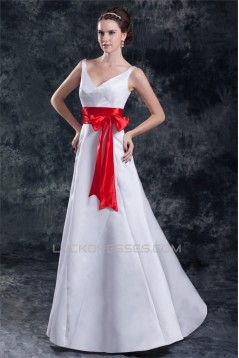 Satin Floor-Length Sleeveless A-Line V-Neck Prom/Formal Evening Bridesmaid Dresses 02020821