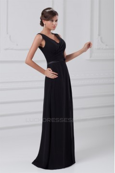 A-Line V-Neck Long Black Chiffon Evening Party Bridesmaid Dresses 02020823