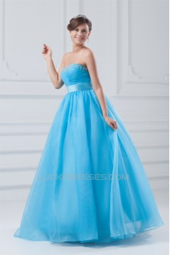 Satin Organza Princess Sleeveless Beading Prom/Formal Evening Dresses 02020826