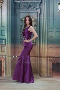 Satin V-Neck Crystal Flora Pin Brush Sweep Train Prom/Formal Evening Dresses 02020827