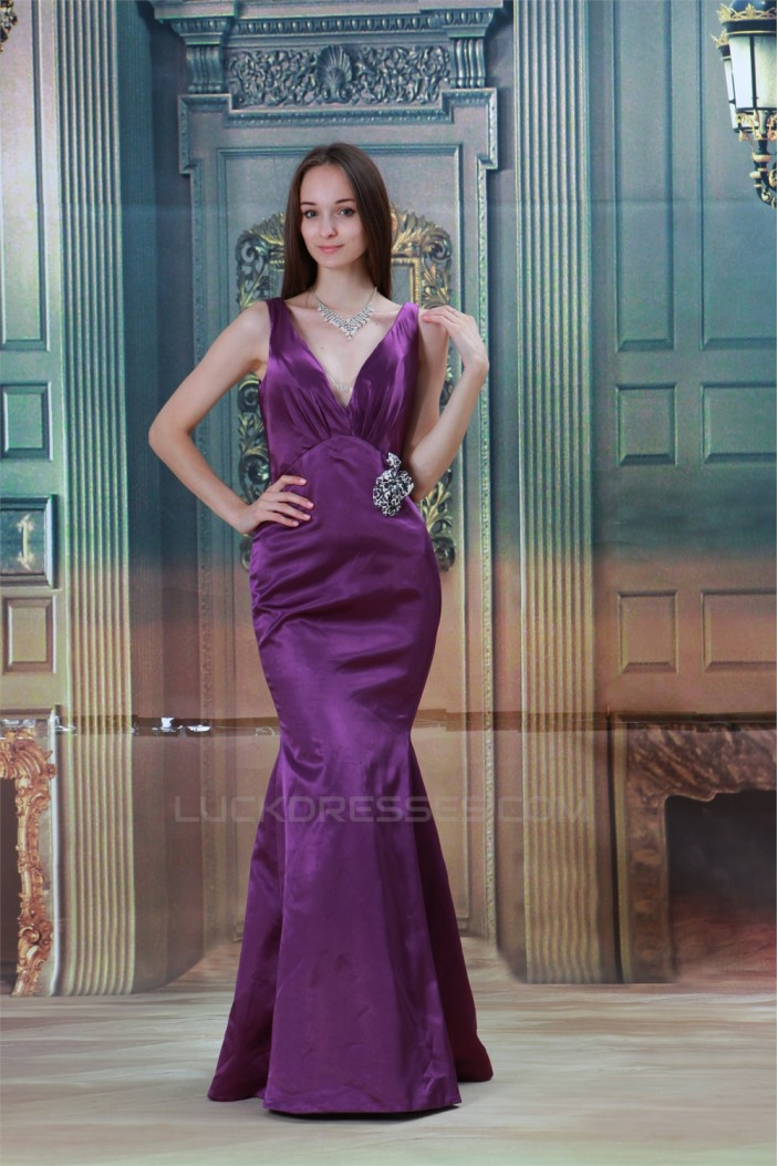Satin V-Neck Crystal Flora Pin Brush Sweep Train Prom/Formal Evening Dresses 02020827