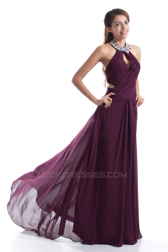 Sheath/Column Beading Halter Chiffon Prom/Formal Evening Dresses 02020832