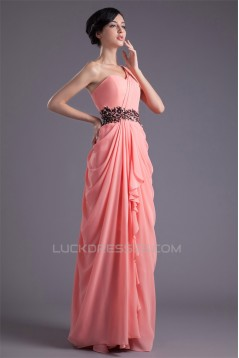 Sheath/Column Floor-Length Chiffon One-Shoulder Prom/Formal Evening Dresses 02020835