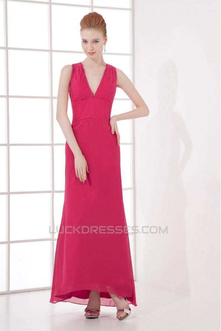 Sheath/Column Floor-Length Pleats V-Neck Formal Evening Bridesmaid Dresses 02020836