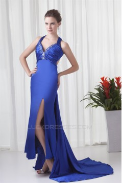 Sheath/Column Halter Elastic Woven Satin Prom/Formal Evening Dresses 02020838