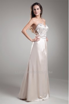 Silk like Satin Beading Sheath/Column Floor-Length Prom/Formal Evening Dresses 02020850