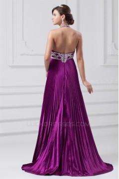 A-Line Halter Brush Sweep Train Long Purple Prom/Formal Evening Dresses 02020856