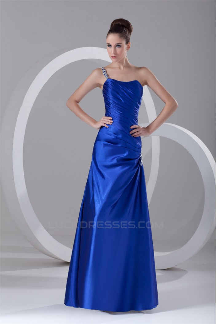 Sleeveless A-Line Pleats One-Shoulder Floor-Length Prom/Formal Evening Dresses 02020857