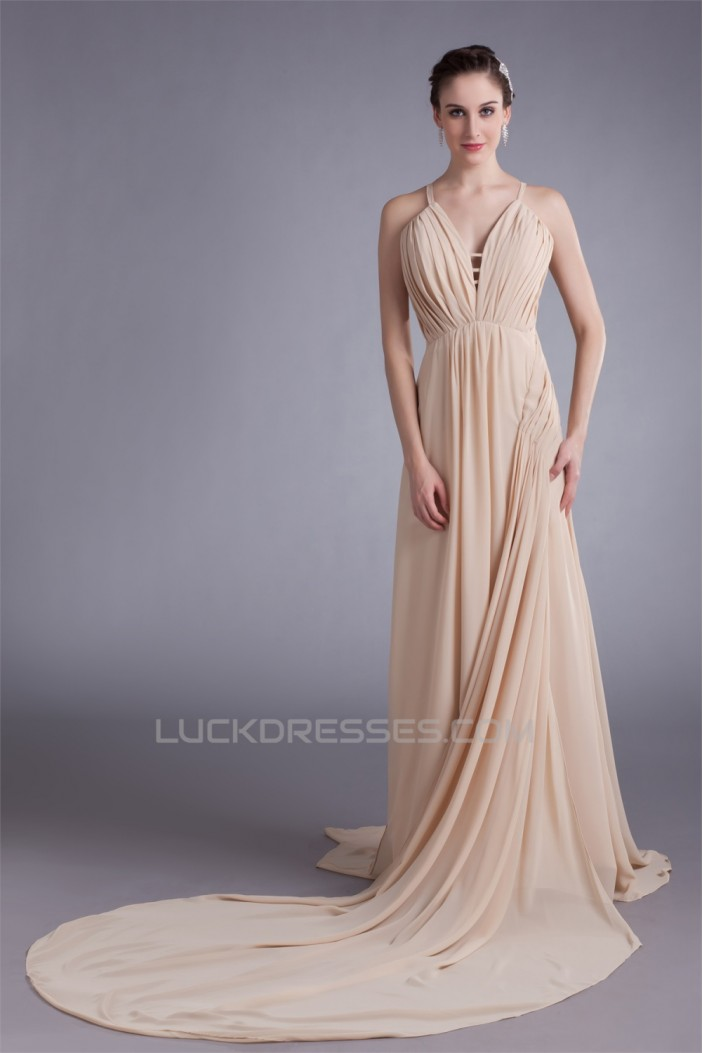 A-Line Straps Chiffon Silk like Satin Prom/Formal Evening Dresses 02020859