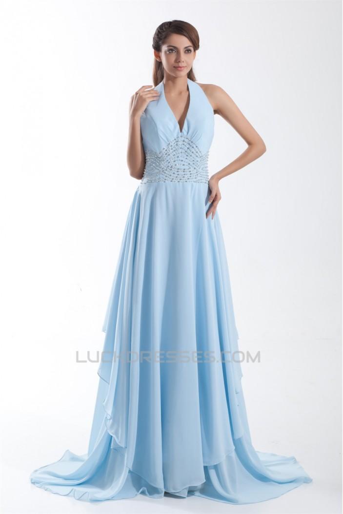 A-Line Sleeveless Beading Brush Sweep Train Prom/Formal Evening Dresses 02020864
