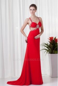 Sleeveless Beading Brush Sweep Train Chiffon Prom/Formal Evening Dresses 02020865