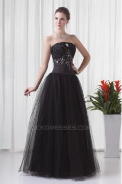 A-Line Sleeveless Beading Satin Fine Netting Strapless Prom/Formal Evening Dresses 02020868