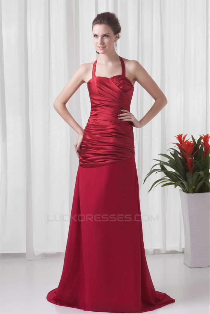 Sleeveless Brush Sweep Train Satin Chiffon Prom/Formal Evening Dresses 02020872