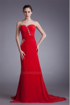 Sheath/Column Chiffon Elastic Long Red Beaded Prom/Formal Evening Dresses 02020874