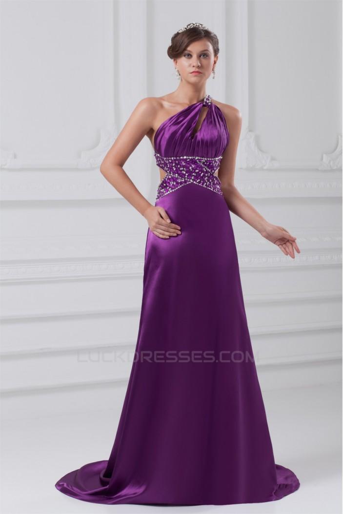 A-Line Sleeveless Elastic Woven Satin One-Shoulder Long Purple Beading Prom/Formal Evening Dresses 02020876