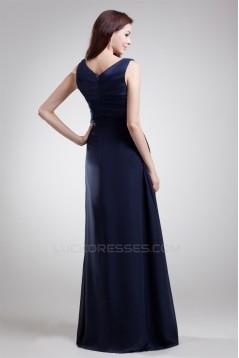 A-Line V-Neck Long Navy Blue Prom/Formal Evening Bridesmaid Dresses 02020881