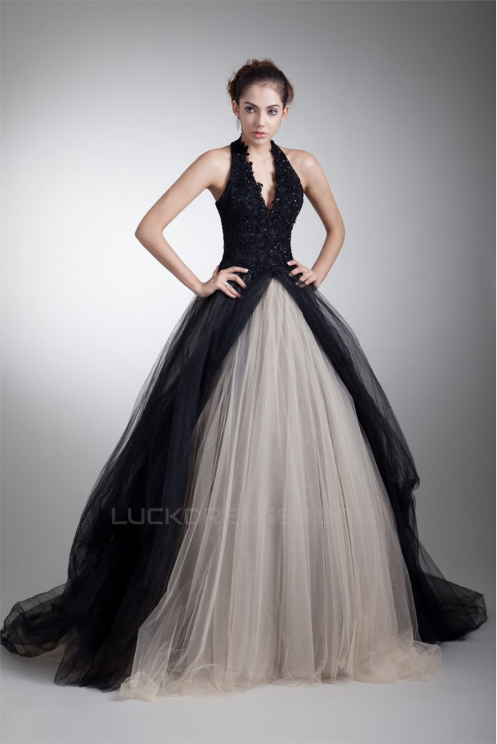 Ball Gown Sleeveless Halter Beaded Appliques Net Prom/Formal Evening Dresses 02020882