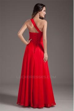 A-Line Chiffon Sleeveless One-Shoulder Prom/Formal Evening Dresses 02020887
