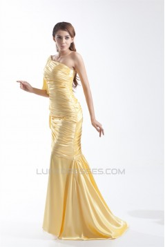 One-Shoulder Brush Sweep Train Long Yellow Prom/Formal Evening Dresses 02020888
