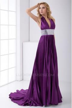 Sleeveless Pleats Elastic Woven Satin Puddle Train Prom/Formal Evening Dresses 02020891