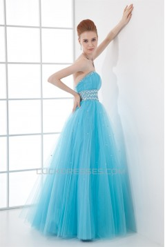 A-Line Beading Sleeveless Satin Fine Netting Prom/Formal Evening Dresses 02020894