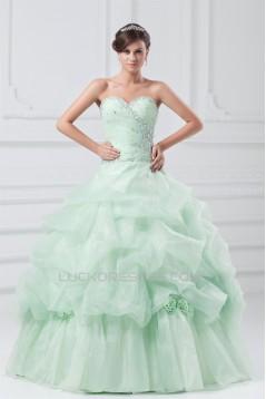 Sleeveless Satin Organza Pick Ups Ball Gown Prom/Formal Evening Dresses 02020896