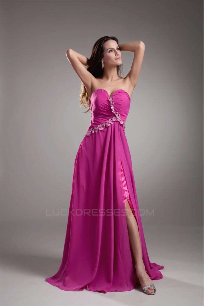 Sleeveless Split Side Chiffon Elastic Woven Satin Prom/Formal Evening Dresses 02020901