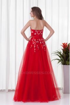 Sleeveless Sweetheart Floor-Length Satin Net Prom/Formal Evening Dresses 02020904
