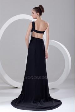 Split Front Chiffon Elastic Woven Satin Prom/Formal Evening Dresses 02020912