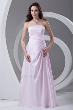Strapless A-Line Pleats Floor-Length Sleeveless Prom/Formal Evening Dresses 02020916