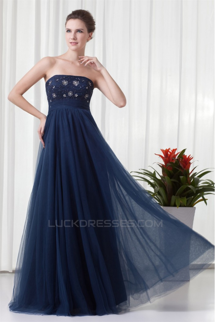 A-Line Strapless Sleeveless Beading Floor-Length Prom/Formal Evening Dresses 02020917