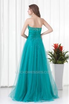 Strapless A-Line Sleeveless Satin Netting Prom/Formal Evening Dresses 02020918