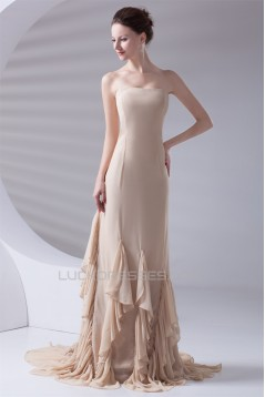 Strapless Cascading Ruffles Sheath/Column Prom/Formal Evening Dresses 02020920