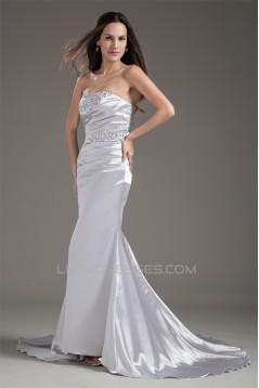 Strapless Elastic Woven Satin Court Train Prom/Formal Evening Dresses 02020922